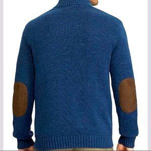 J. Crew Men's Blue Brown 100% Leather 100% Merino Wool Half Zipper Sweater